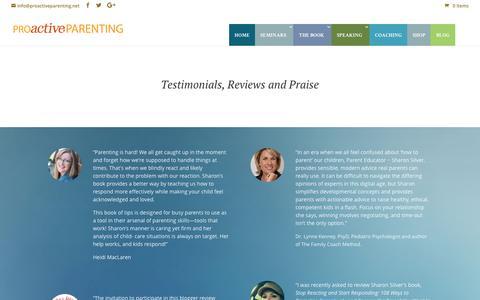 Screenshot of Testimonials Page proactiveparenting.net - Testimonials   Proactive Parenting - captured July 16, 2016