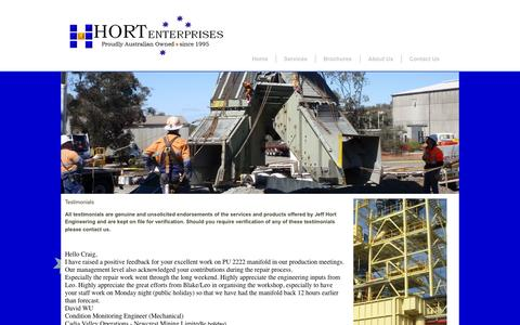 Screenshot of Testimonials Page jeffhort.com.au - Jeff Hort Engineering Testimonials - captured Oct. 6, 2014