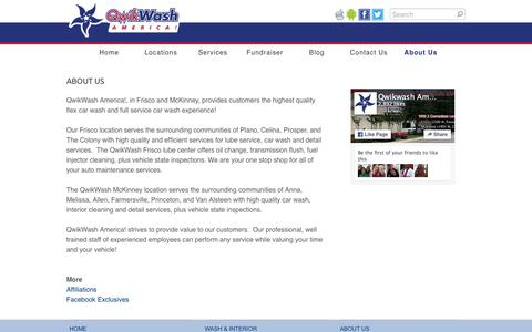 Screenshot of About Page qwikwash.com - About Us - QwikWash America! - captured Jan. 14, 2016