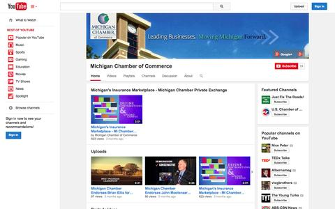 Screenshot of YouTube Page youtube.com - Michigan Chamber of Commerce  - YouTube - captured Oct. 27, 2014