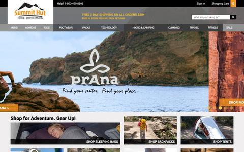 Screenshot of Home Page summithut.com - Outdoor Gear, Hiking Gear, Backpacking Gear – SummitHut.com - captured Oct. 1, 2015