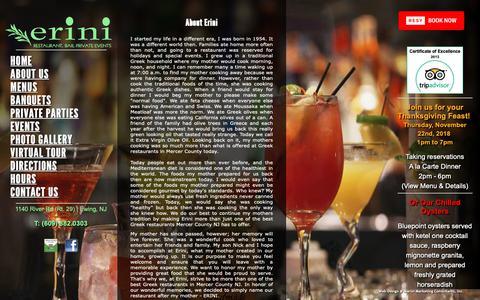 Screenshot of About Page erinirestaurant.com - Italian Restaurants in Mercer County NJ – Erini Restaurant – Italian Restaurants in Mercer County New Jersey - captured Nov. 5, 2018