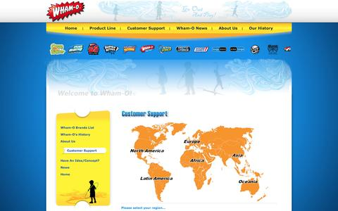 Screenshot of Support Page wham-o.com - Wham-O Customer Support   Wham-O's heritage and over 70 products including Frisbee Disc, Slip N Slide, Hula Hoop, Hacky Sack, Sprig Toys, Morey, Boogie boards, BZ, and more - captured Aug. 13, 2016