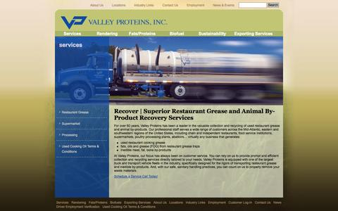 Screenshot of Services Page valleyproteins.com - Animal by-products removal, restaurant grease removal | Valley Proteins - captured Oct. 31, 2014
