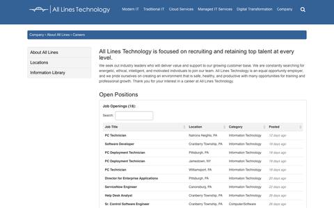 Screenshot of Jobs Page alllinestech.com - Careers | All Lines Technology - captured Oct. 3, 2018