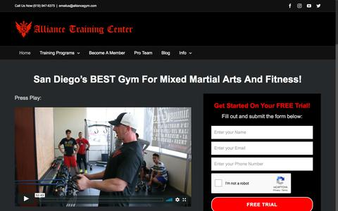 Screenshot of Home Page alliancegym.com - Alliance Training Center – Physical Fitness And Mixed Martial Arts - captured July 18, 2018