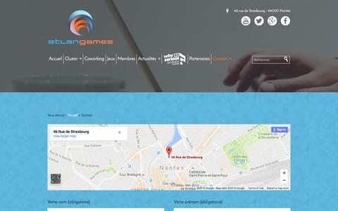Screenshot of Contact Page atlangames.com - Contact - Atlangames - captured July 27, 2016