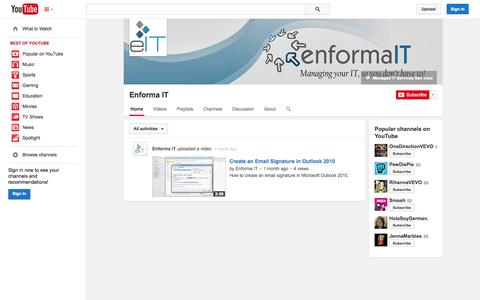 Screenshot of YouTube Page youtube.com - Enforma IT  - YouTube - captured Oct. 22, 2014