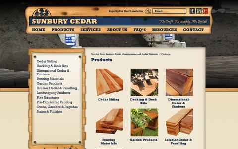 Screenshot of Products Page sunburycedar.com - Products | Sunbury Cedar | Landscaping and Cedar Products - captured Oct. 7, 2014