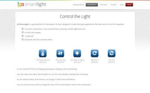 Screenshot of Developers Page l8smartlight.com - Developers | L8 SmartLight - captured July 18, 2014