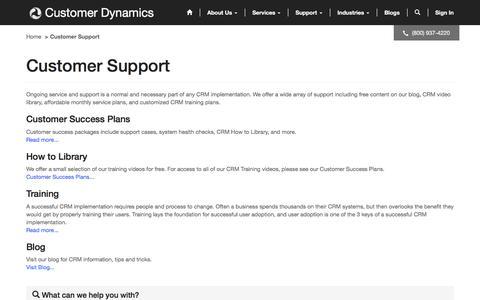 Screenshot of Support Page customerdynamics.com - Customer Support· Community Portal - captured May 24, 2017