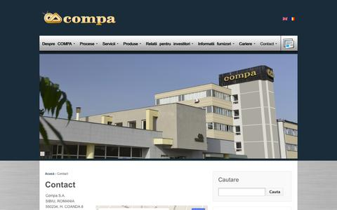 Screenshot of Contact Page compa.ro - Contact | Compa S.A. - captured Oct. 3, 2014