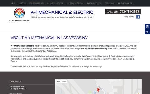 Screenshot of About Page a-1mechanical.com - Air Conditioning Experts | Las Vegas NV | A-1 Mechanical & Electric - captured Sept. 29, 2017