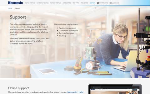 Screenshot of FAQ Page mecmesin.com - Support | Mecmesin - captured May 21, 2019