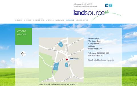 Screenshot of Contact Page landsourceplc.co.uk - Land Source - Where We Are - captured Sept. 29, 2014