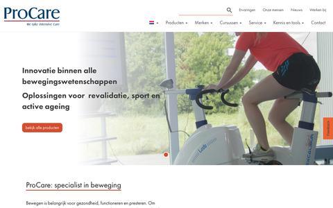 Screenshot of Home Page procarebv.nl - ProCare: specialist in beweging - Medische apparatuur en oplossingen - captured Dec. 8, 2018