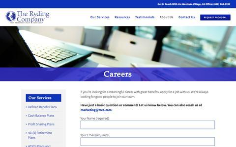 Screenshot of Jobs Page trco.com - Careers - The Ryding Company - captured Dec. 1, 2016