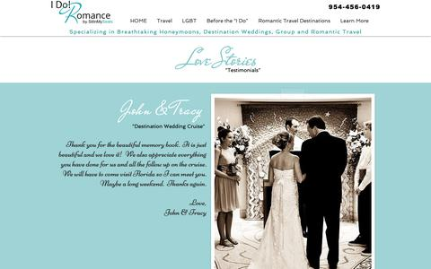 Screenshot of Testimonials Page idoromance.com - Love Stories & Testimonials - captured Sept. 30, 2018