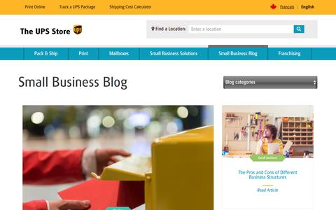 Screenshot of Blog theupsstore.ca - Small Business Blog | The UPS Store - captured Nov. 24, 2016
