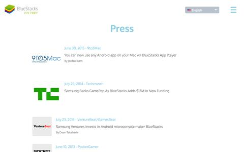 Screenshot of Press Page bluestacks.com - Bluestacks Press - captured Nov. 12, 2015