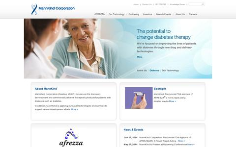 Screenshot of Home Page mannkindcorp.com - Home – MannKind Corporation - captured July 17, 2014