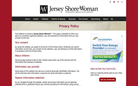 Screenshot of Privacy Page jswoman.com - Privacy Policy - Jersey Shore Woman - captured Feb. 7, 2018