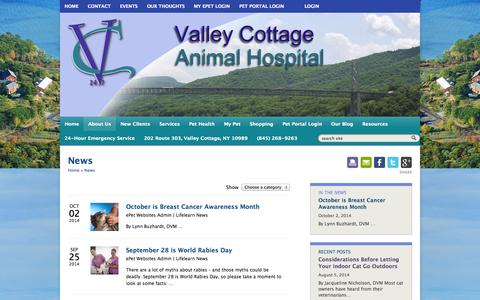 Screenshot of Press Page valleycottageanimalhospital.com - News   Veterinarians in Valley Cottage, New York   Valley Cottage Animal Hospital, Rockland County, NY - captured Oct. 7, 2014
