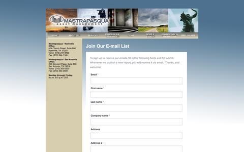 Screenshot of Signup Page mastrapasqua.com - Mastrapasqua Asset Management - Nashville, Tn & San Antonio, Tx. - Join Us - captured Nov. 27, 2016