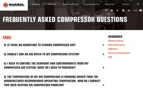 Screenshot of FAQ Page matteicomp.com - Frequently Asked Compressor Questions - Mattei - captured Dec. 3, 2017