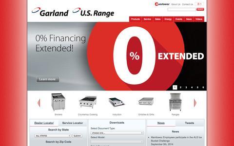 Screenshot of Home Page garland-group.com - Garland Group - Cooking equipment innovators - Garland - captured Oct. 3, 2014