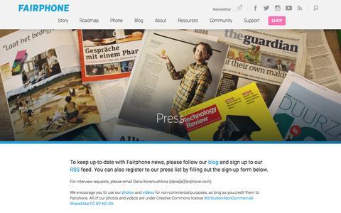 Screenshot of Press Page fairphone.com - Press | Fairphone - captured June 16, 2015