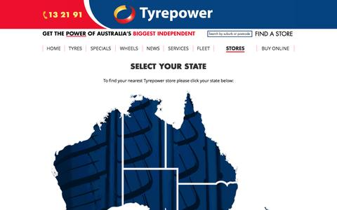 Screenshot of Contact Page tyrepower.com.au - Stores | Tyrepower - captured April 11, 2017