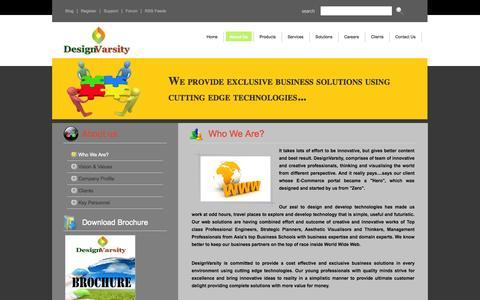 Screenshot of About Page designvarsity.com - DesignVarsity : Website Design and E-Commerce Services - captured Sept. 30, 2014