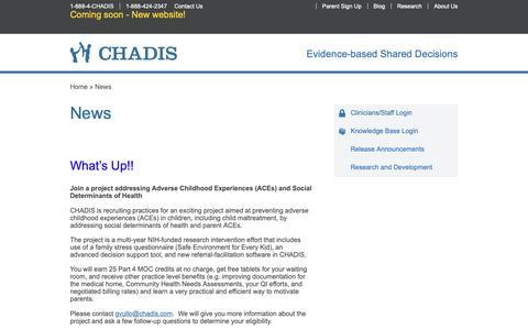 Screenshot of Press Page chadis.com - News | CHADIS - Comprehensive Health & Development Interactive System - captured Oct. 18, 2018