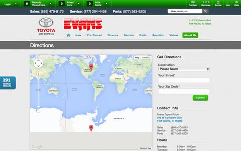 Screenshot of Maps & Directions Page evanstoyota.com - Evans Toyota Scion | Vehicles for sale in Fort Wayne, IN 46808 - captured Oct. 3, 2014
