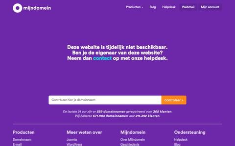 Screenshot of Home Page harmbrinkhof.nl - Mijndomein - captured Sept. 25, 2018