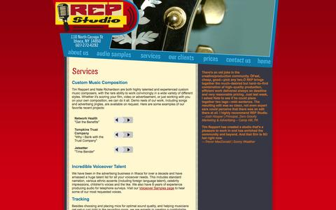 Screenshot of Services Page repstudio.com - REP Studio, Recording Music and Advertising in Ithaca, NY :: Services - captured Oct. 7, 2014