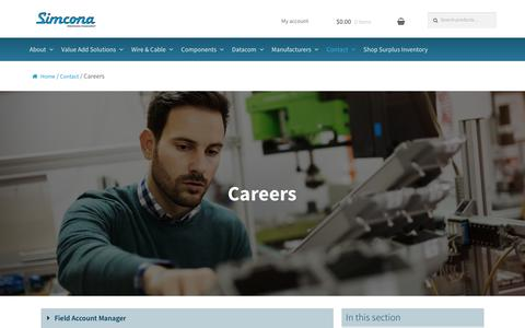 Screenshot of Jobs Page simcona.com - Electromechanical, Datacom & Cable Technician Jobs in Rochester, NY | Simcona Electronics Corporation - captured Oct. 2, 2018