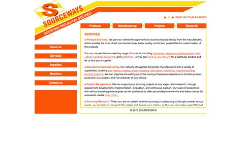 Screenshot of Services Page sourceways.co.uk - SOURCEWAYS Services | Services - captured Oct. 29, 2014