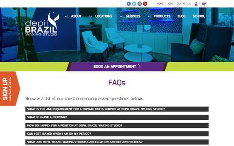 Screenshot of FAQ Page depilbrazilwaxing.com - Body Waxing FAQs   Depil Brazil Waxing FAQs - Depil Brazil Waxing Studio (for Women and Men) - captured Oct. 11, 2017