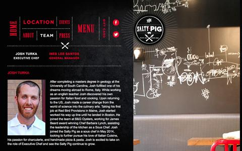 Screenshot of Team Page thesaltypig.com - Josh Turka | Executive Chef | Boston's Salty Pig - captured March 10, 2016