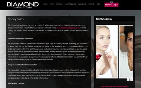Screenshot of Privacy Page thediamondagency.com - Privacy Policy | The Diamond Agency - captured Jan. 11, 2016
