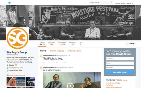 Screenshot of Twitter Page twitter.com - The Smyth Group (@thesmythgroup) | Twitter - captured Oct. 24, 2014