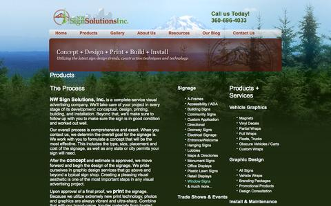 Screenshot of Products Page nwsignsolutions.com - Sign Company Vancouver WA | NW Sign Solutions - captured Oct. 6, 2014