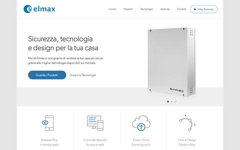 Screenshot of Home Page elmaxsrl.it - Elmax | Soluzioni Elettroniche per la Sicurezza e l'Automazione - captured July 10, 2016