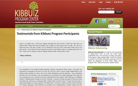 Screenshot of Testimonials Page kibbutzprogramcenter.org - Testimonials from Kibbutz Program Participants | Kibbutz Program Center - captured Sept. 30, 2014