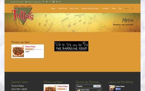 Screenshot of Press Page tuttaspizza.com - Media - Tutta's - captured Oct. 7, 2014
