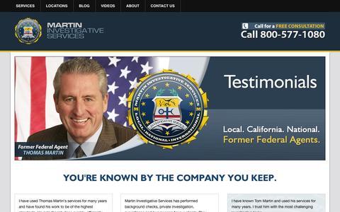 Screenshot of Testimonials Page martinpi.com - Testimonials for Martin Investigative Services - captured Oct. 27, 2014