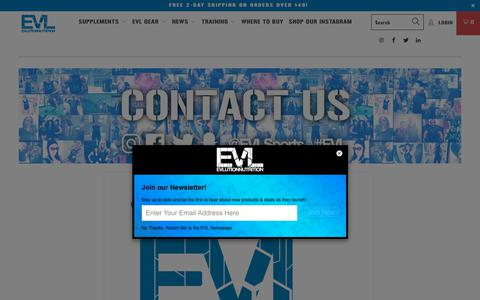Screenshot of Contact Page evlnutrition.com - Contact EVL - EVLUTION NUTRITION - captured Sept. 22, 2018