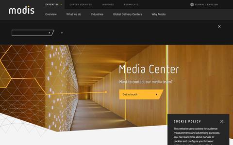 Screenshot of Press Page modis.com captured Nov. 7, 2018